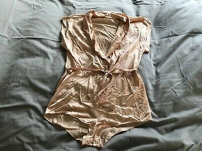 Vintage 1970's 1980's Nude Flair Lingerie Nylon Belted Romper Outfit Size Small