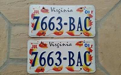 2001 Set of Virginia AUTUMN LEAVES Graphics License Plates TAG # 7663-BAC Pair