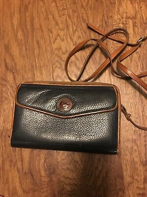Vintage Dooney and Bourke Large ZIP-ALONG Wallet Leather Navy & Brown with Strap