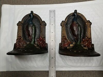 """Beautiful Cast Iron """"Peacock"""" Bookends from the 1930's"""