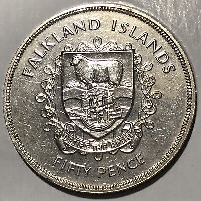 Large Falkland Islands Uncirculated 1977  50 Pence Coin
