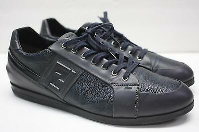 FENDI Roma Black Zucca Leather Canvas F Logo Sneakers Shoes Size 10.5 d59c09ac4a4