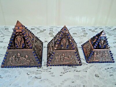 Set of 3 Pyramid ornaments, 2 are trinket boxes - Metal, very unusual !