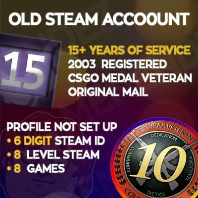 Steam Account / 6 Digit / 15 Years / + Original E-Mail [INSTANT DELIVERY⚡⚡]
