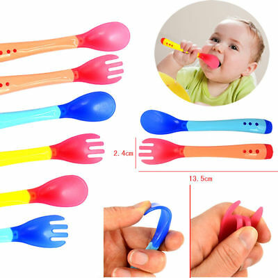Heat Sensing Thermal Feeding Spoon Fork Baby Kid Weaning Silicone Head Tableware