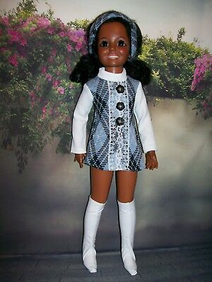 """"""" College Days In White/Blue """" OOAK Outfit For Your Vintage Ideal Crissy Doll"""
