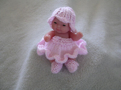 "Berenguer 5"" Doll & Hand Knitted & Crocheted Dolls Clothes + Accessories"