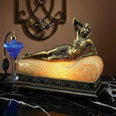 Cleopatra Egyptian Queen of Nile Art Deco Amber Mosaic Crackle Glass Chaise Lamp