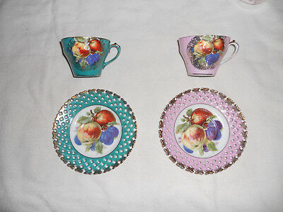 pair of Vintage LM Royal Halsey Very Fine China Cup & Saucers