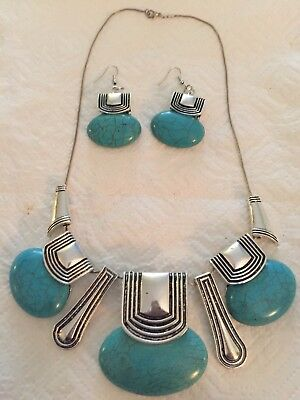 vtg native american silvertone turquoise slide necklace & earrings signed