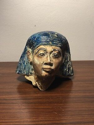Superb Ancient Egyptian Stone/polychrome Carved Head, Middle Kingdom