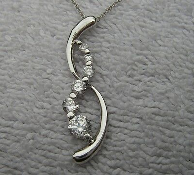 Nice Silver? WHITE CRYSTAL Drop Pendant NECKLACE-18 Inch Chain-NR