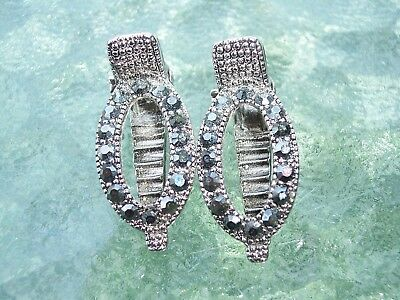Pair of Vintage Silver Tone Marcasite Hair Clips - Can be used on Dress or Shoes
