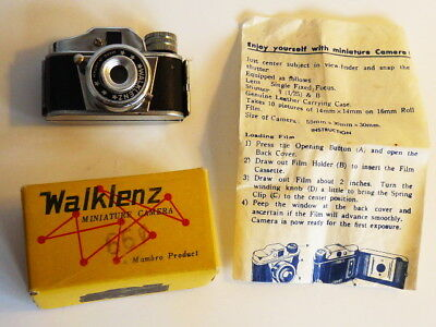 VINTAGE MINIATURE HIT style WALKLENZ JAPAN SPY PHOTO CAMERA BOX FILM c 1950