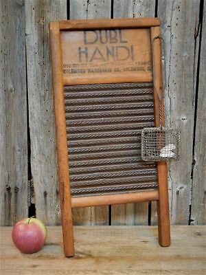 Antique Primitive Washboard & Wire Soap Saver Laundry Room Lot