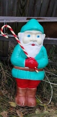 Vintage Don Featherstone Gnome Elf Candy Cane Christmas Plastic Blow Mold Lawn