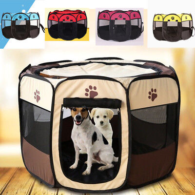 Summe Pet Dog Cat Playpen Tent Portable Exercise Fence Kennel Cage Folding Crate