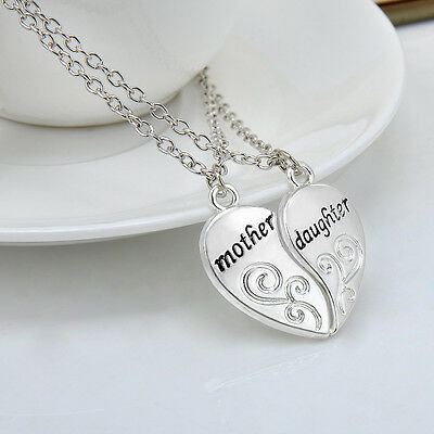 Charms Silver Plated Mother Daughter Heart Pendant Chain Necklaces Jewelry Gift