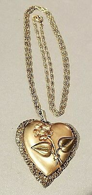 """1900's FLORAL HEART LOCKET PENDANT GOLD FILLED w/ 18"""" CHAIN NECKLACE & ORIG PICS"""