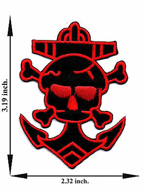 Skull Head Bone Skeleton Crossbone Anchor Biker Applique Iron on Patch Sew