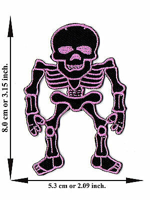 Pink Skull Bone Skeleton Biker Rock Applique Iron on Patch Sew Free Shipping
