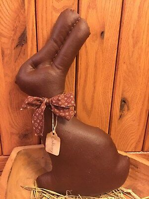 Primitive Chocolate Cadbury Easter Bunny Heart Shelf Sitter Bowl Filler Ornie