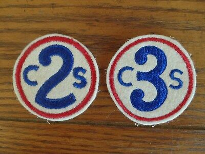 2-WW1 US 2nd/3rd Corps School Insignia. Deep Blue/Red Thread Machine Embroidered