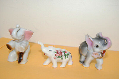 LOT OF 3 SMALL VINTAGE PORCELAIN ELEPHANT FIGURINES Japan FREE SHIPPING flowers