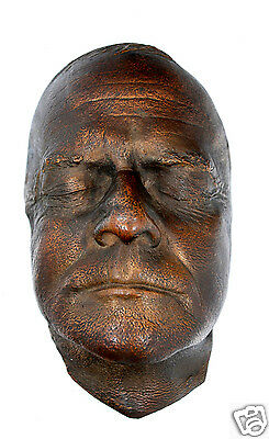 Unusual Antique HEAVY BRONZE CAST Death Mask cir. early 1800's, Authentic RARE!