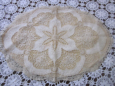 Intricate Antique Chemical Lace Fronted Oval Cushion