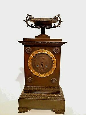 Brass inkwell, Clock and Garniture suite empire bronze and gilt