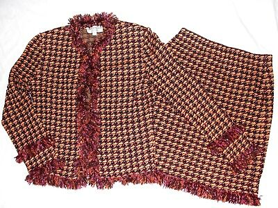 de143f35f772 NEW St John Collection Tweed Jacket Skirt 2pc Suit Fringes Multicolor Sz 8