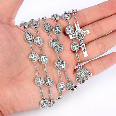 1Pcs Ancient Silver Christian Jesus Cross Pendant Rosary Beaded Chain Necklace