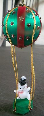 Vintage Christmas SNOWMAN in HOT AIR BALLOON Satin Ornament w/ Sequins & Beads