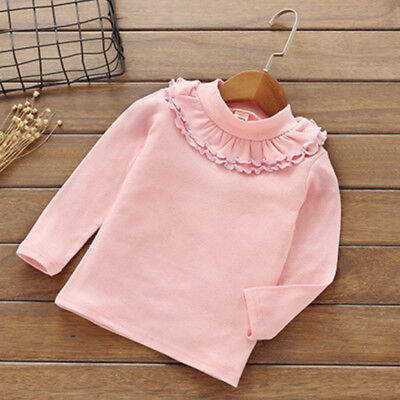 T-shirt Infant Kids Children Solid Color Lace Long Sleeve Tops super popular