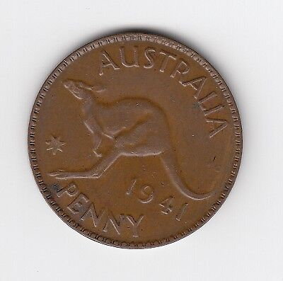 1941P (K.g) Kgvi Australia Penny - Very Nice Lower Mintage Coin - Clear Dot