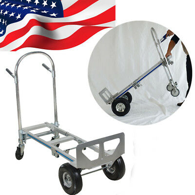 【USA】2in1 Aluminum Hand Truck 770LBS Convertible Foldable Dolly Push 4Wheel Cart