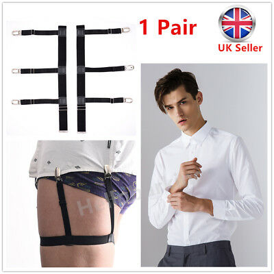 Men T Shirt Suspender Stays Holders Elastic Garter With Non-slip Locking Clamps