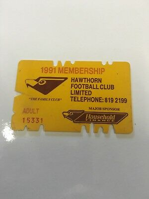 1991 Hawthorn Football Club Membership Card - Premiership Year