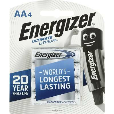 Energizer  AA Ultimate Lithium 4 Pack Batteries 20 yrs Shelf Life New & Sealed
