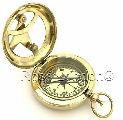 Solid Brass Push Button Compass & Sundial- High Quality & Heavy Compass handmade