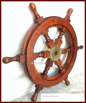 """Details about  18""""Nautical Wooden Boat Ship Large Wooden Steering Wheel Nautica"""