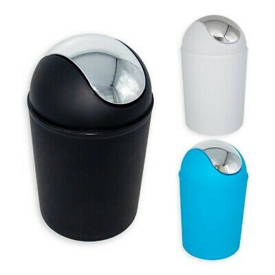 Calitek Plastic 5 Litre Swing Top Waste Dustbin Rubbish Bathroom Toilet Bin