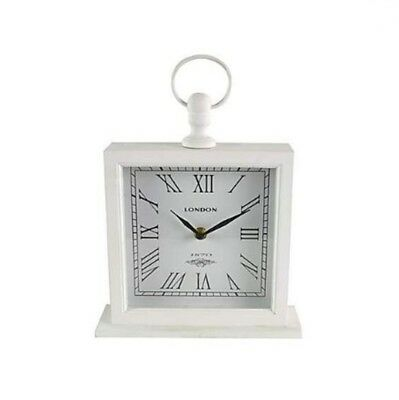 MND New Large White Mantel Roman Numerals Clock Shelf Desk Mantel Square Clock.