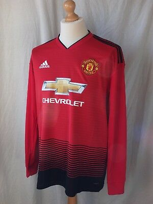 Brand New Genuine Manchester United 2018/19 Home Long Sleeve Shirt  Adults Large