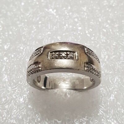 Fine Vintage White Topaz Band ring heavy Solid Silver 925 shiny Ring Size P~P1/2