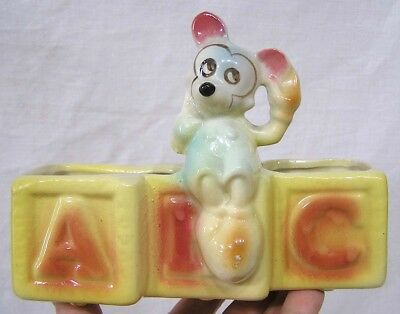 "Vintage American Bisque Mickey on ABC Blocks Figural Planter Made In USA  5.5"" H"