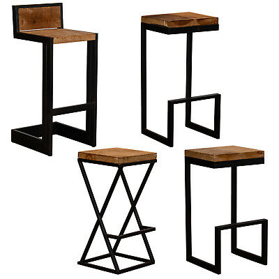 Bar Stools Reclaimed Wood Style Box Steel Metal Frame Vintage Rustic Industrial
