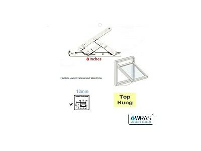 """New Pair 8 """" Inch UPVC Window Friction Hinges Stays Top Hung 13mm Stack UK Size"""
