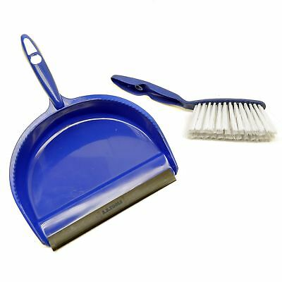 Blue Dust Pan and Brush set Dustpan Dust Sweeper Soft Nylon Bristles Sil173